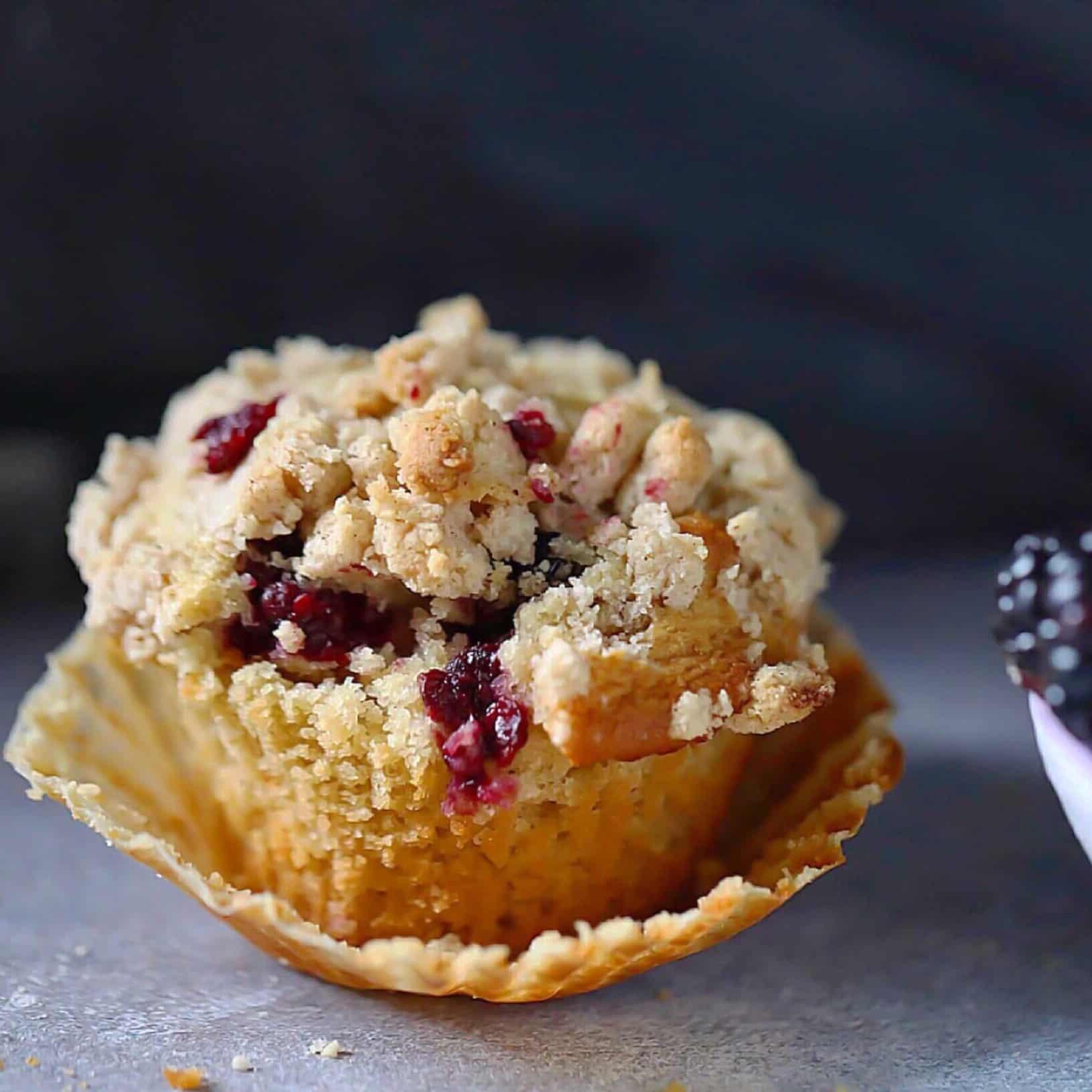 Paleo Blackberry Cobbler Muffins