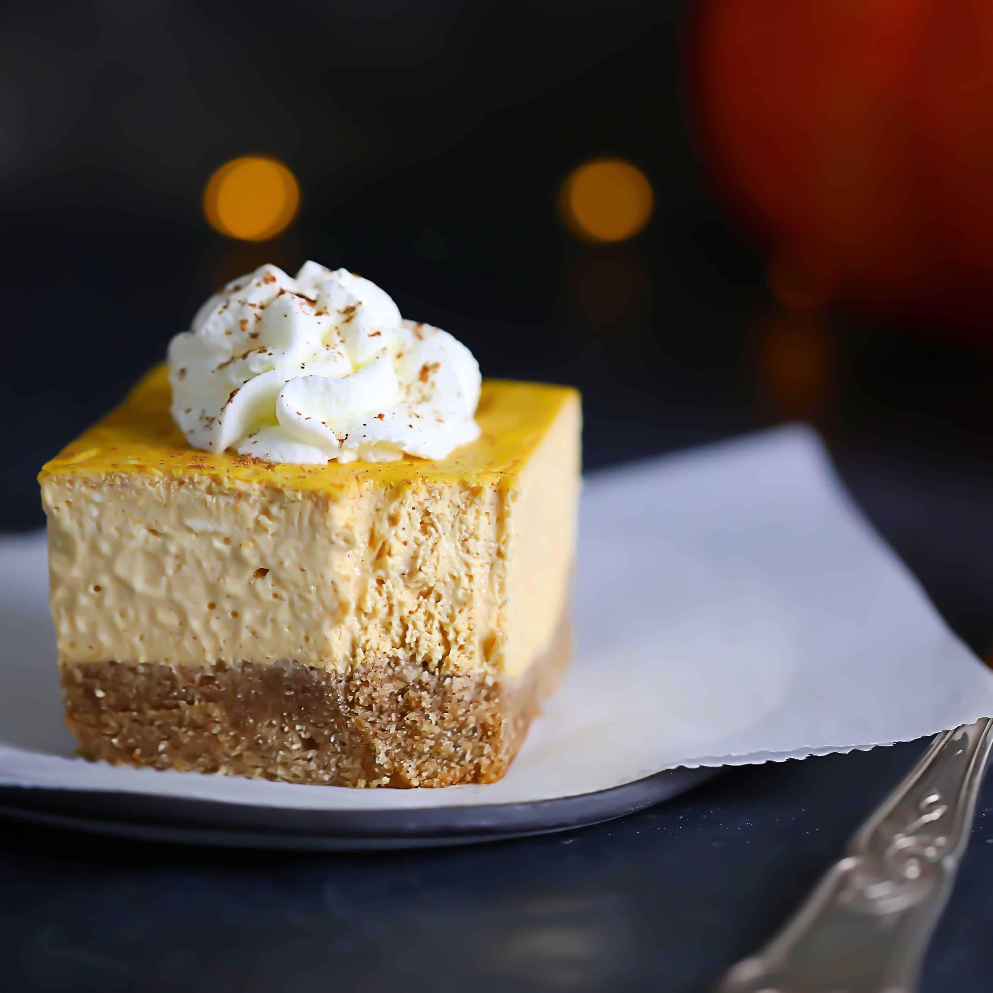 Keto Pumpkin Cheesecake Bars W/ Graham Crust