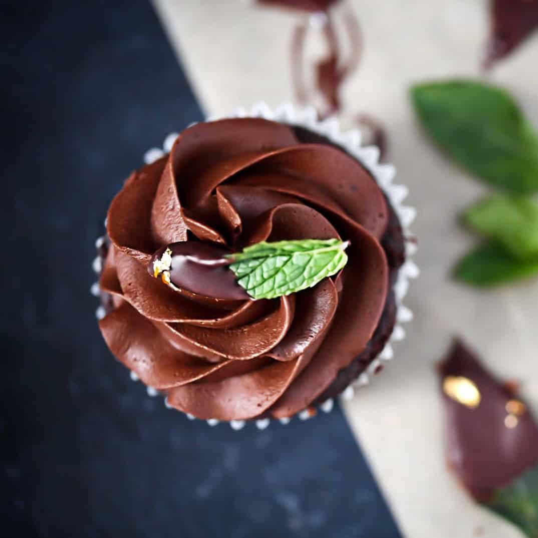 Keto Mint Fudge Cupcakes Overhead photo