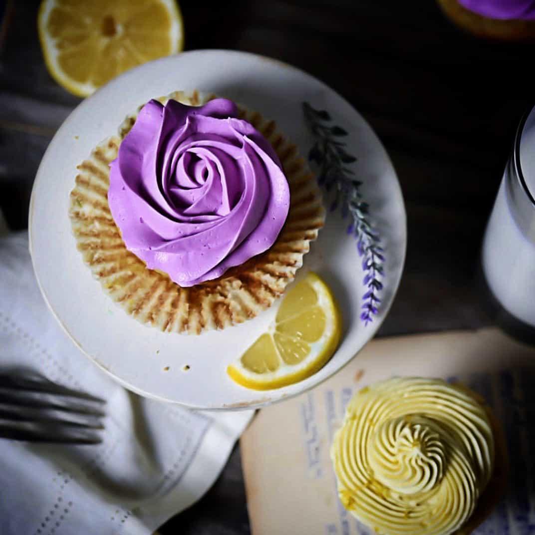 Low-Carb Lemon Lavender Cupcakes