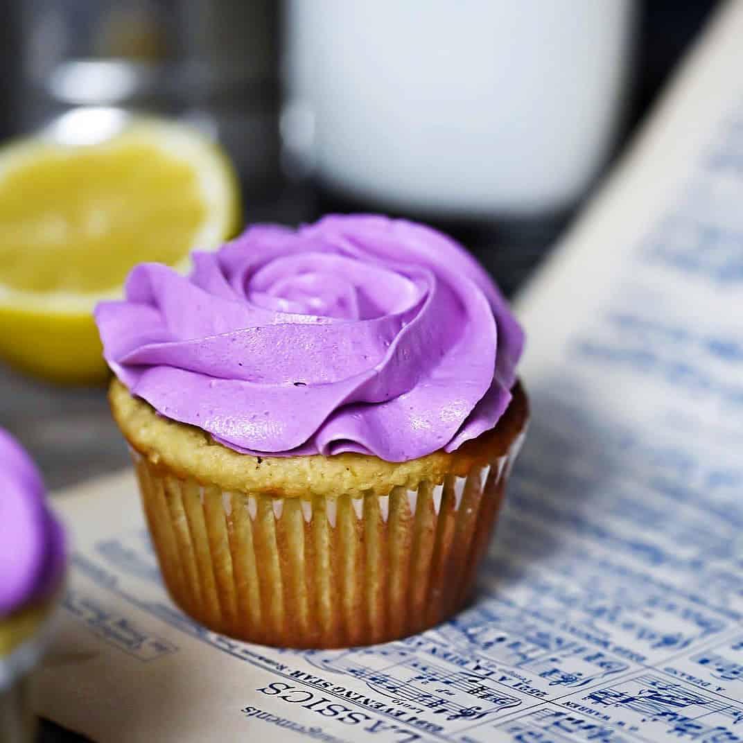 Lemon Lavender Cupcakes with sheet music