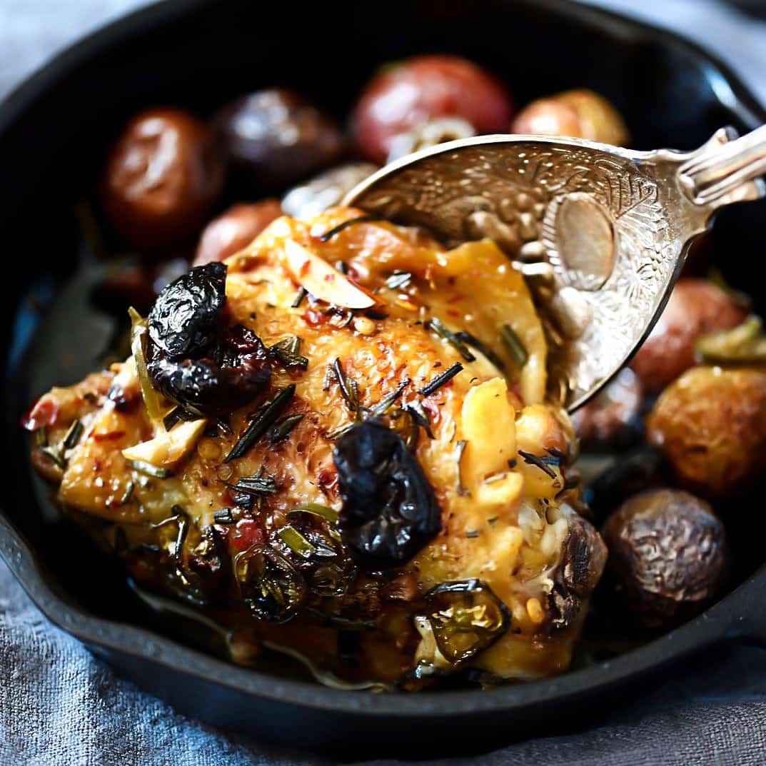 Rustic Chicken with serving spoon