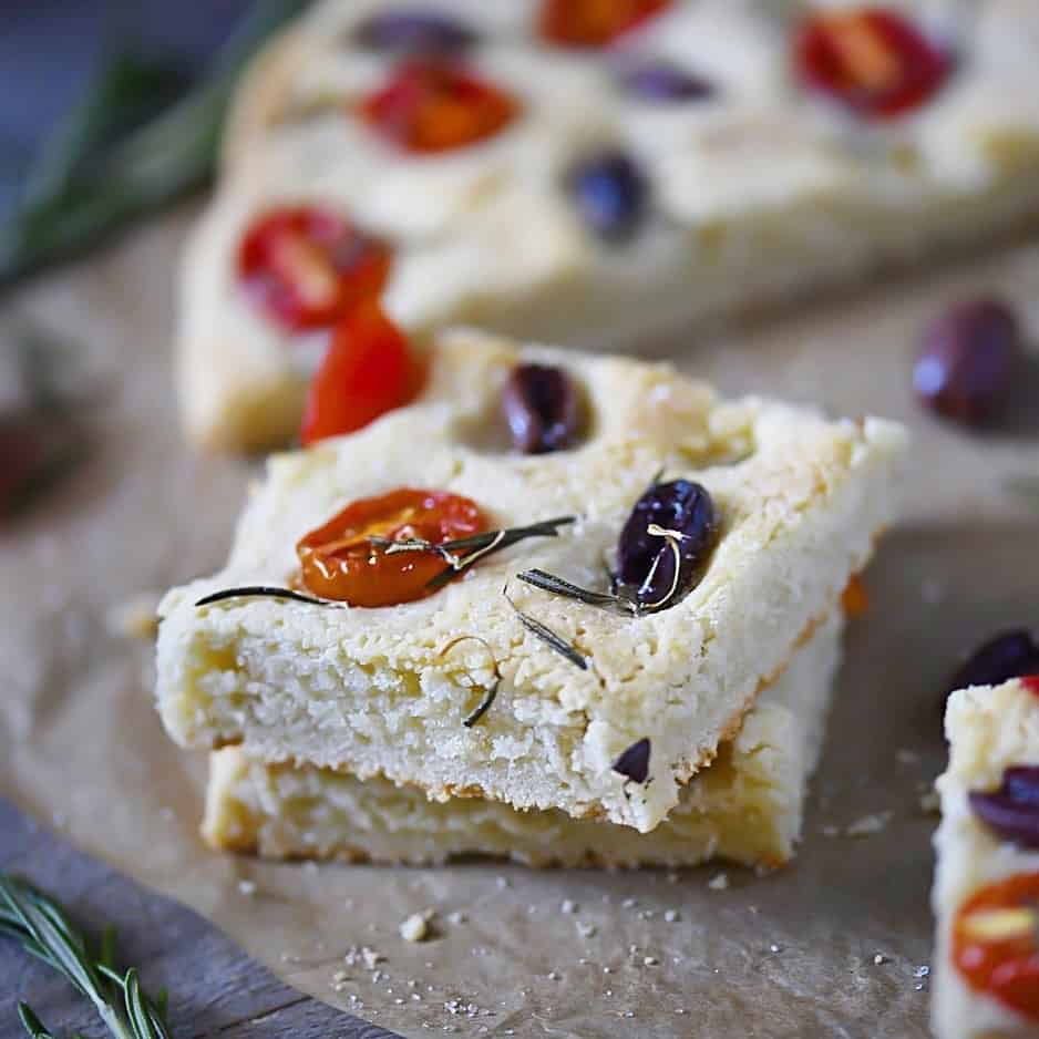 Focaccia Slices with kalamata olives