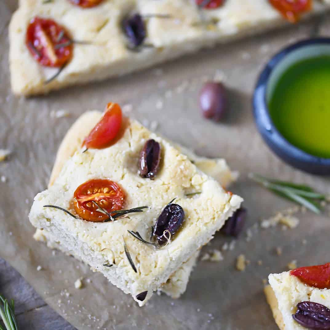 Focaccia slice with olives