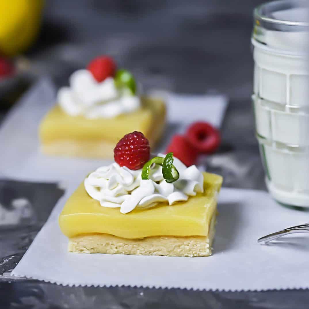 SCD Lemon Squares With Raspberries