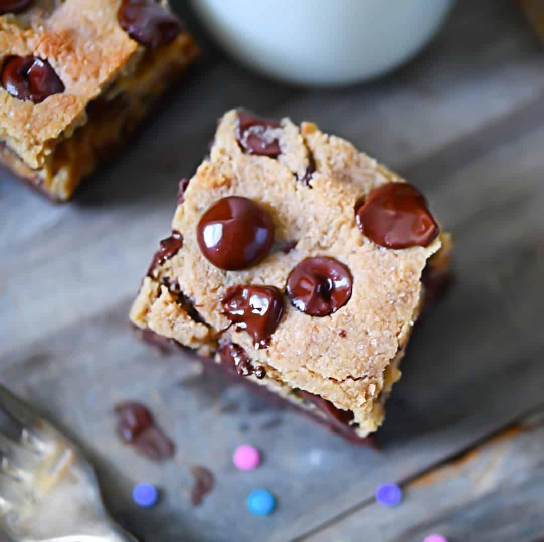 Overhead photo of keto cookie bars, grain-free