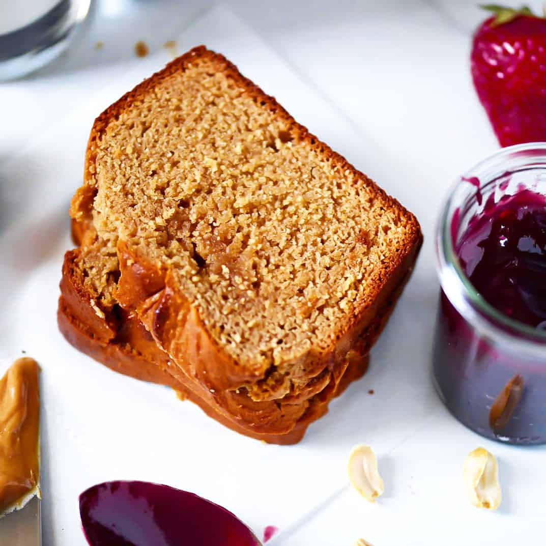 Peanut Butter Bread Slices with strawberries and jam