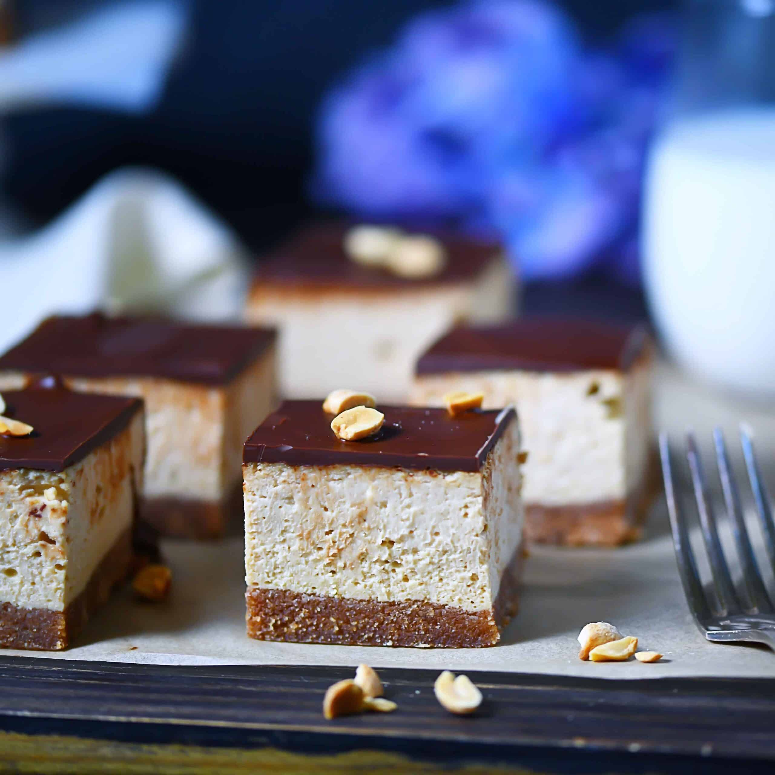 Keto Peanut Butter Cheesecake Bars with milk