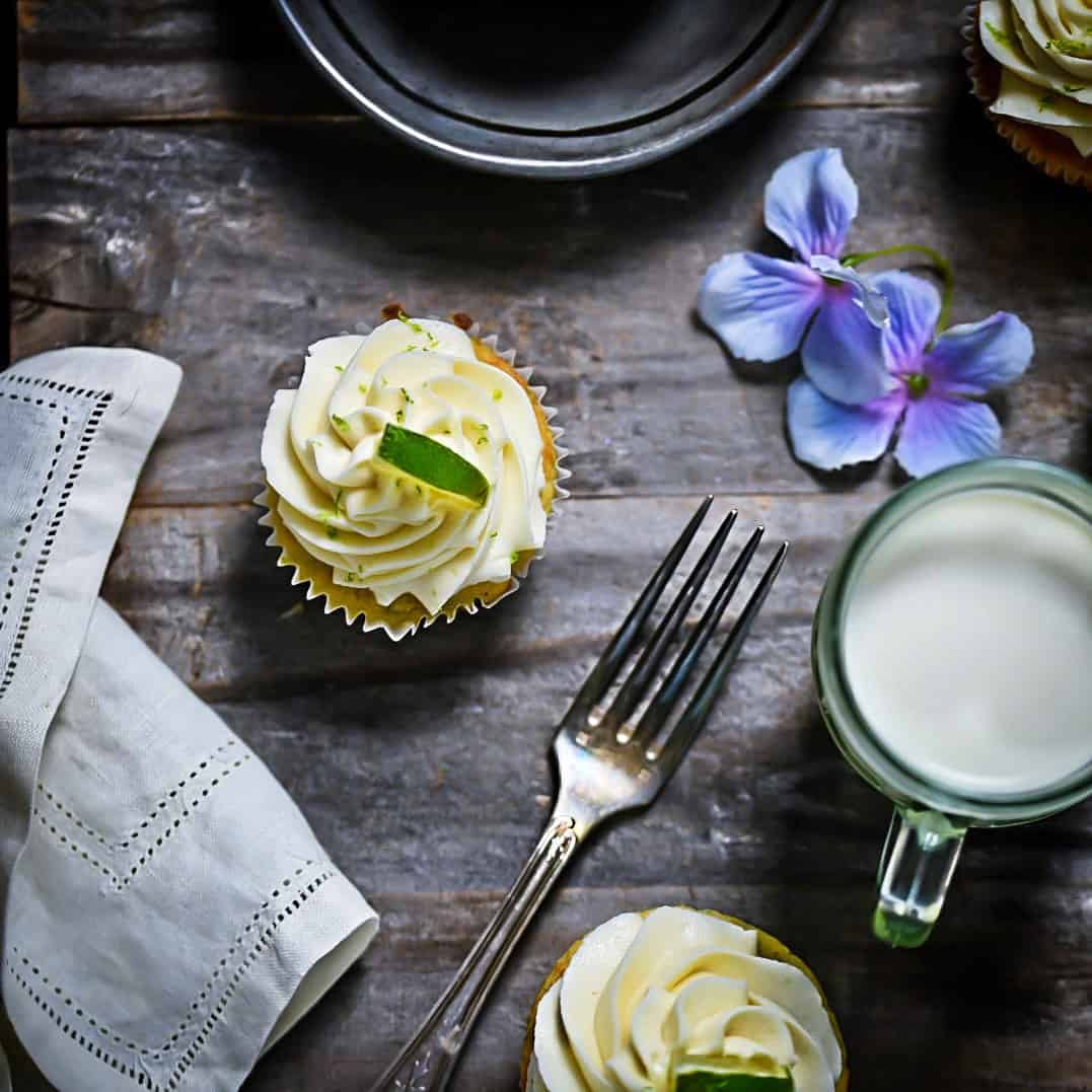 Lime gluten-Free Cupcakes with frosting