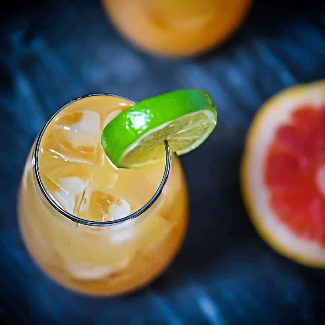 Tequila Cocktail with grapefruit soda