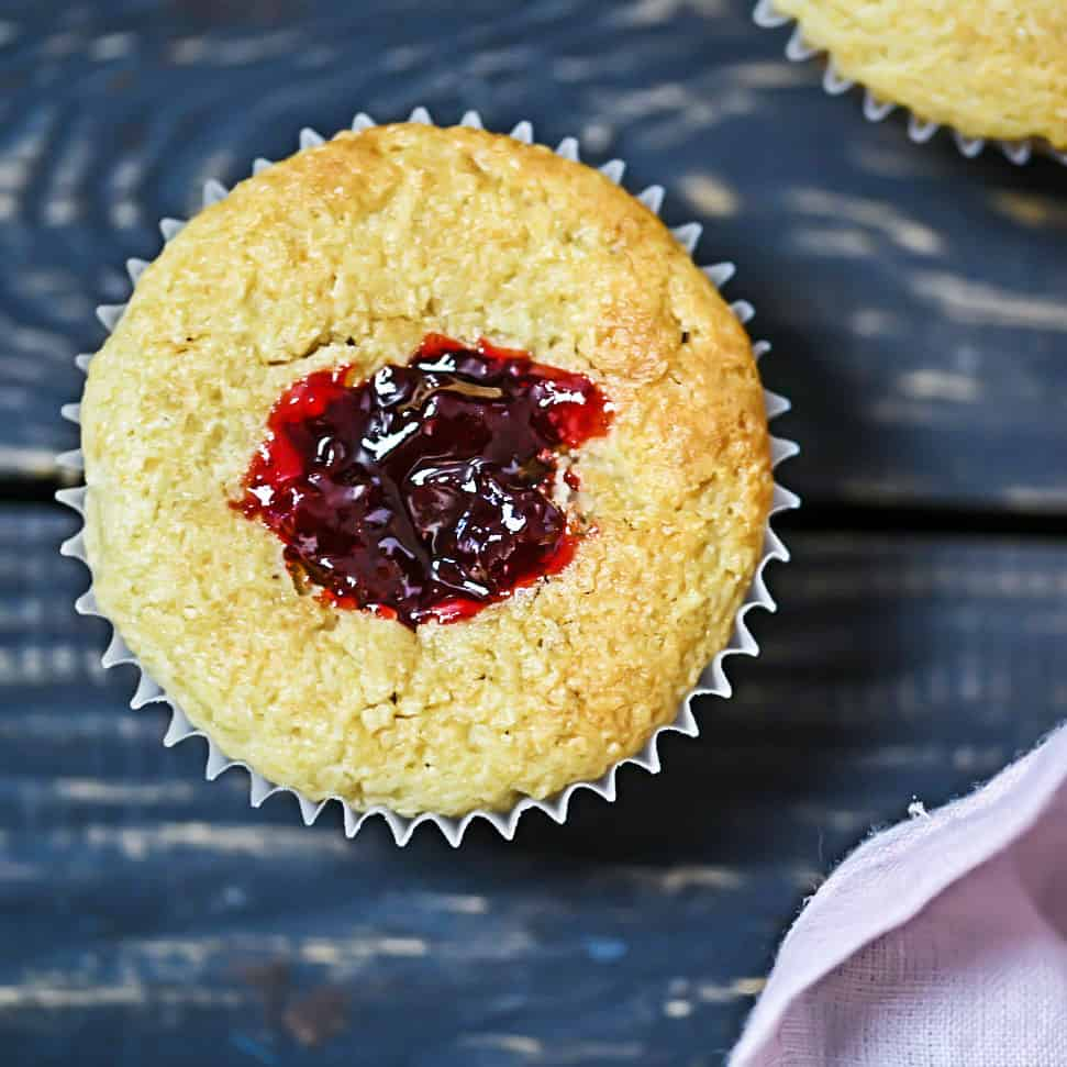 Inside of grain-free muffin with jam