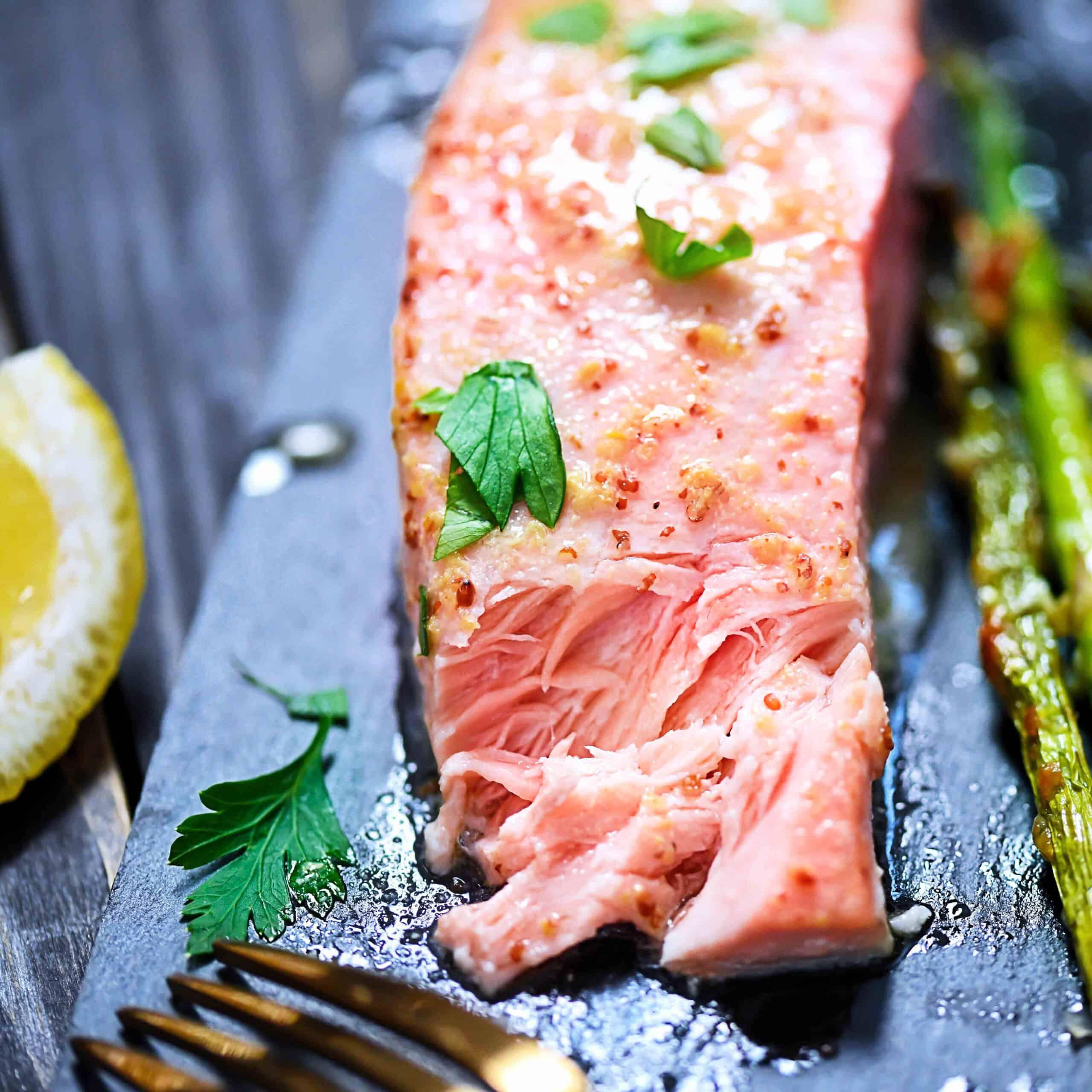 Mustard Baked Salmon + Roasted Asparagus