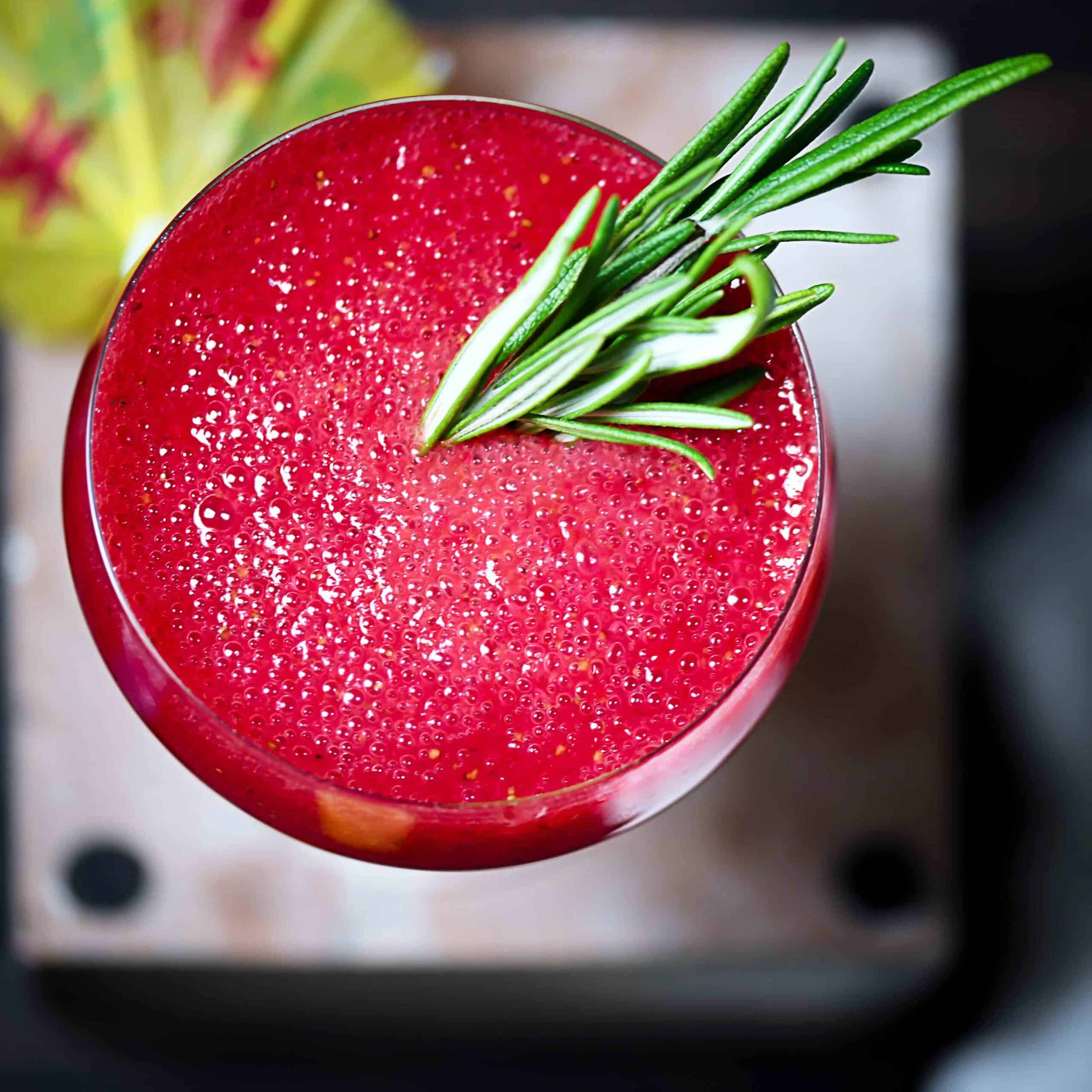 Strawberry Rum Fizz With Rosemary