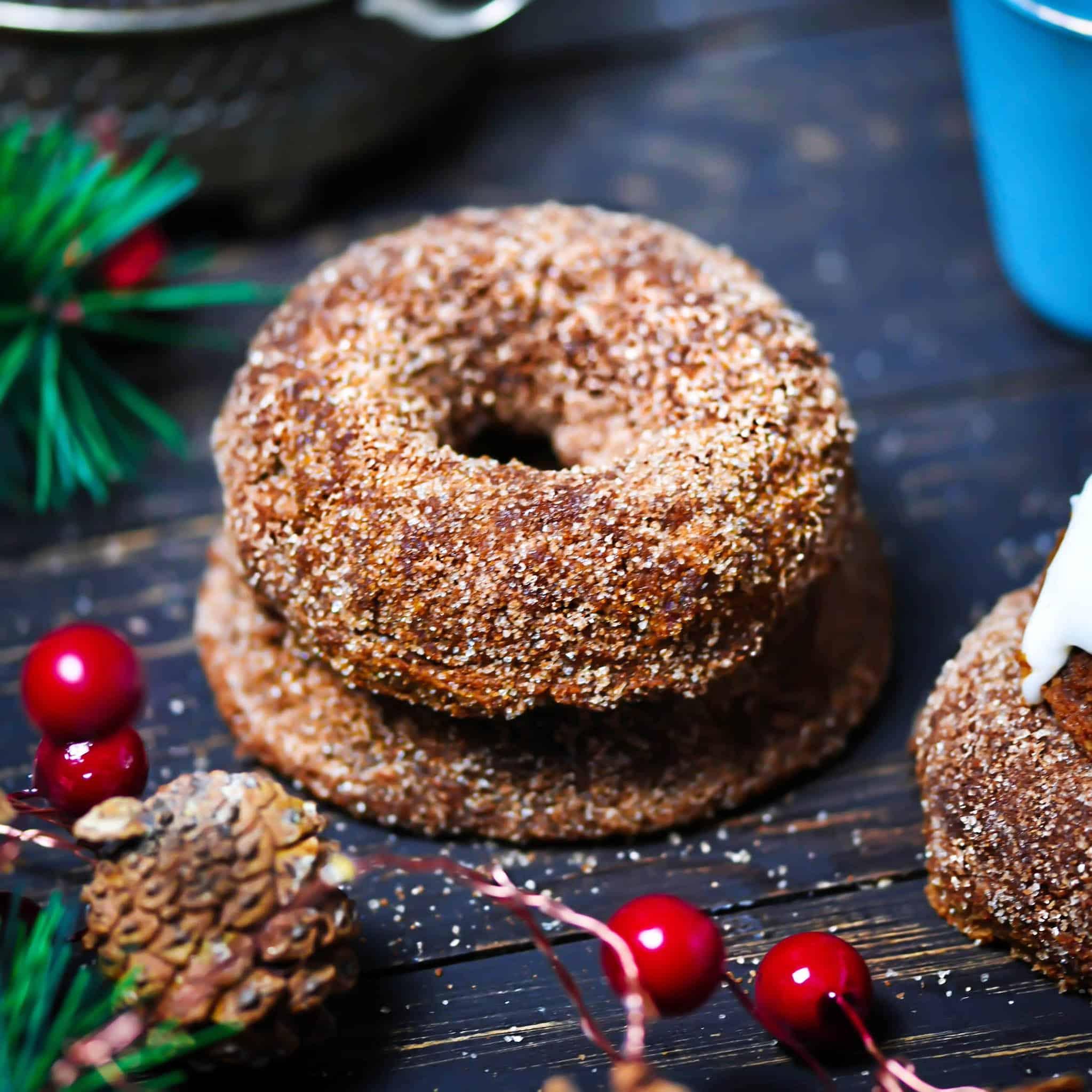 Molasses Donuts in cinnamon coconut sugar