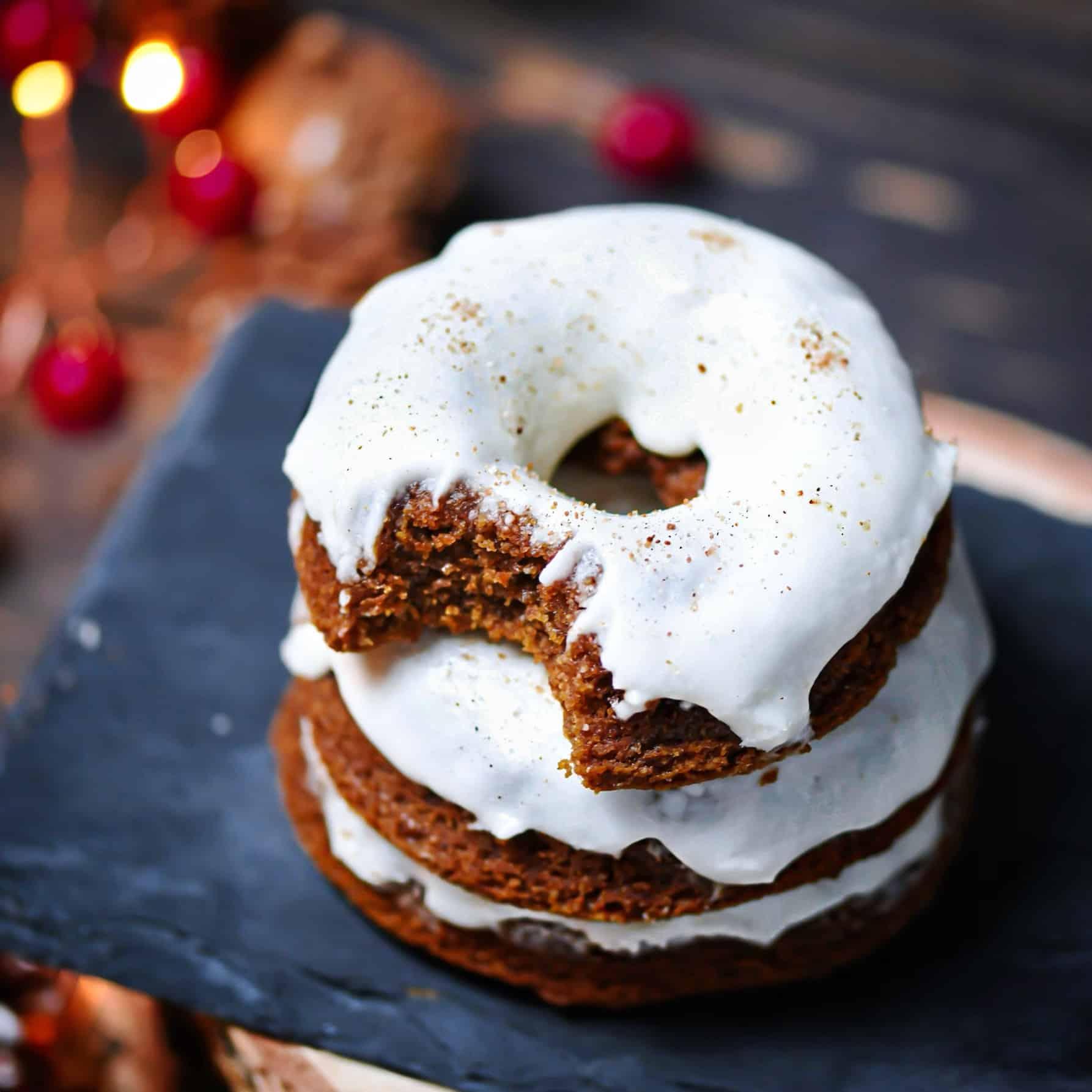 Stack of Grain-free, vegan molasses cake donuts