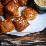 Grainless homemade soft pretzels with mustard