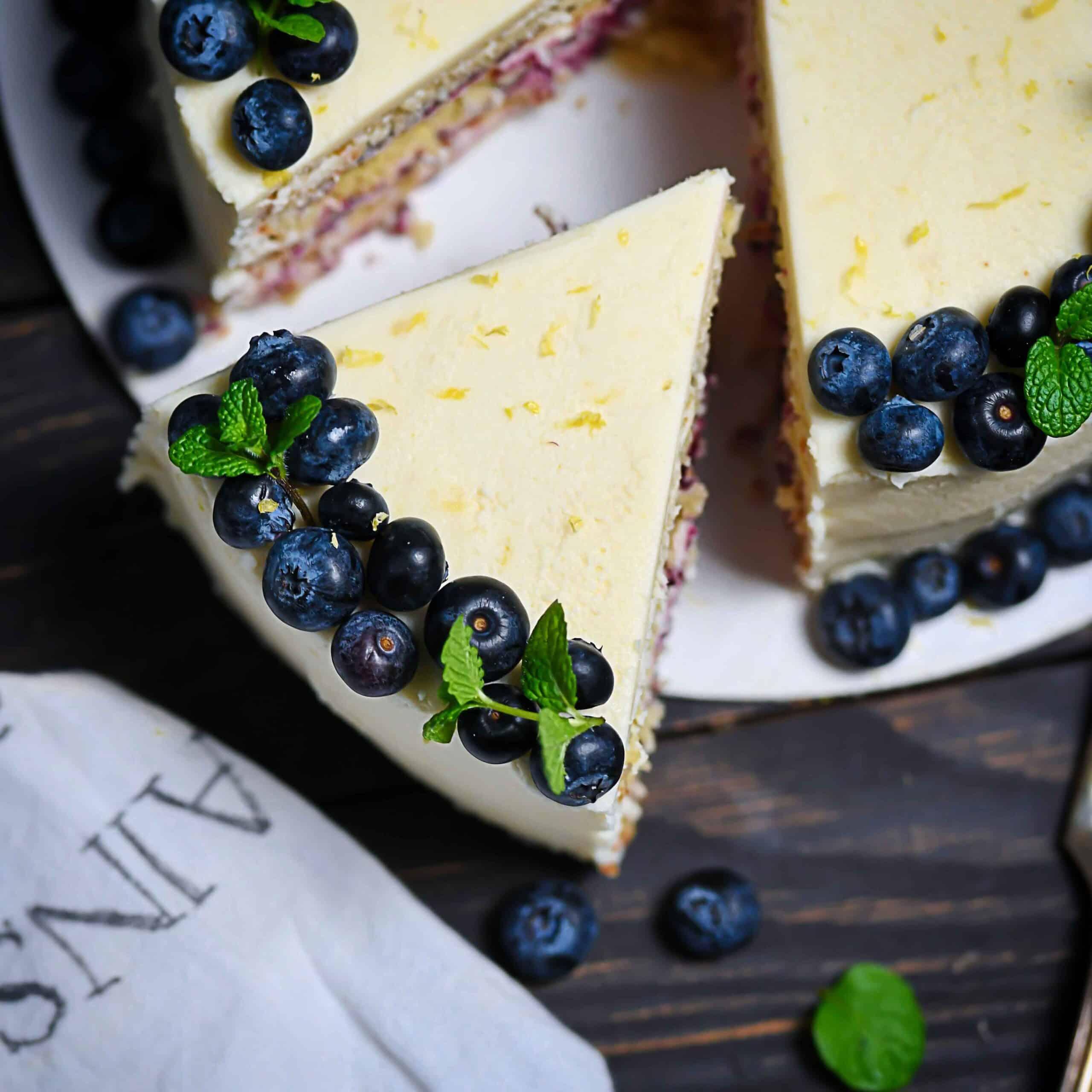 Overhead photo dairy-free lemon birthday cake