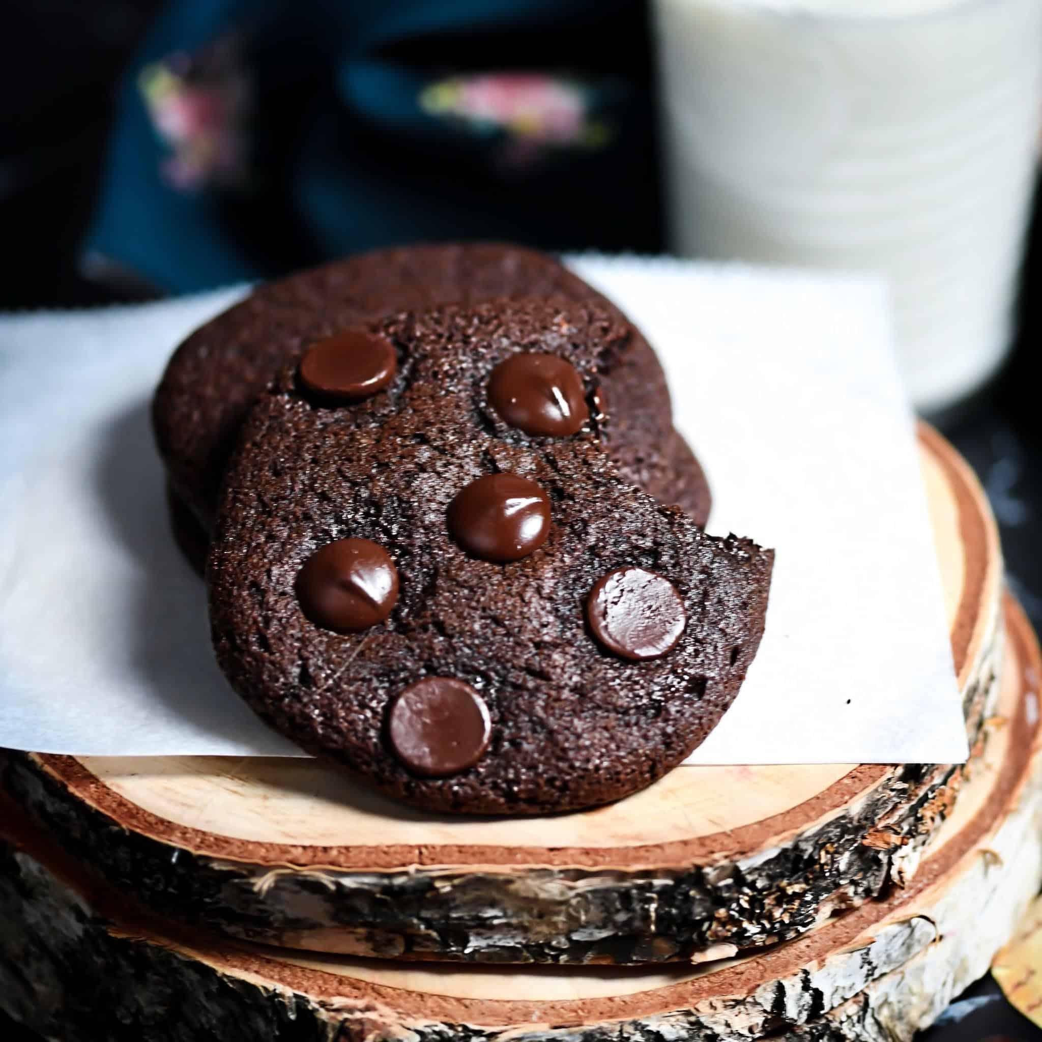 Grain-Free, Dairy-Free Brownie Cookies On Paper and Wood