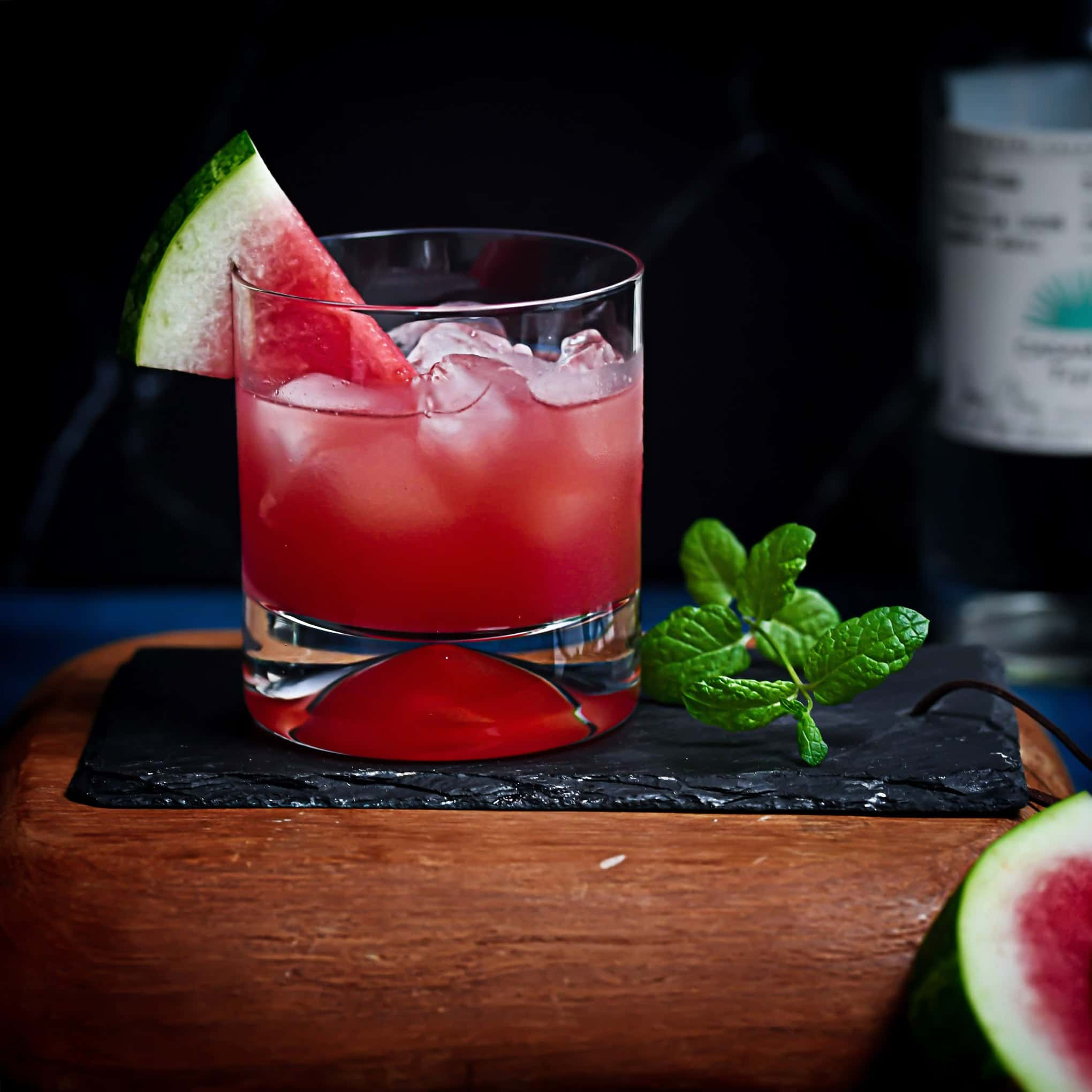 Watermelon Mixed Drink on slate and wood