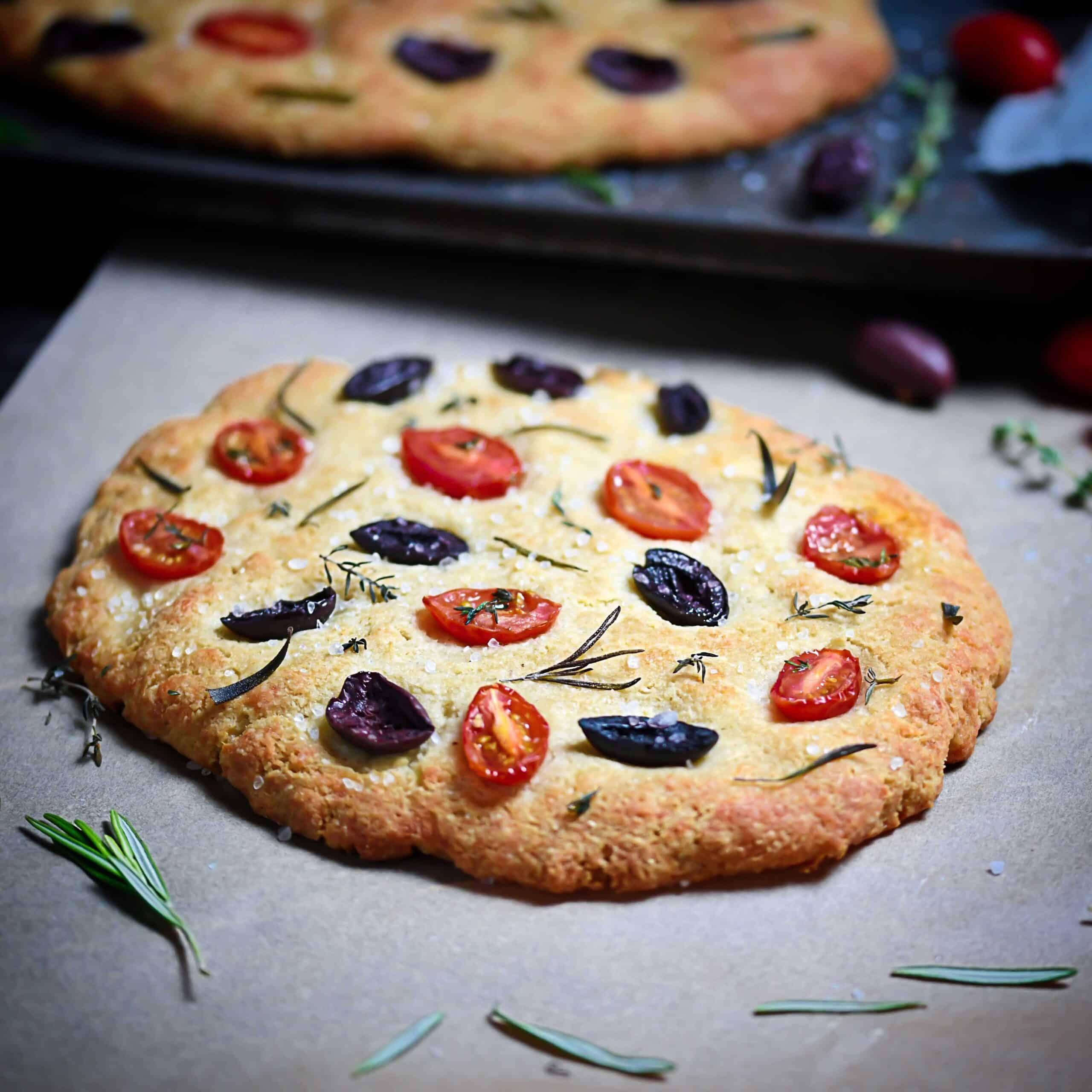 Grain-Free Focaccia Breads On Parchment