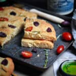 Keto + SCD Focaccia Slices With Tomatoes + Olives
