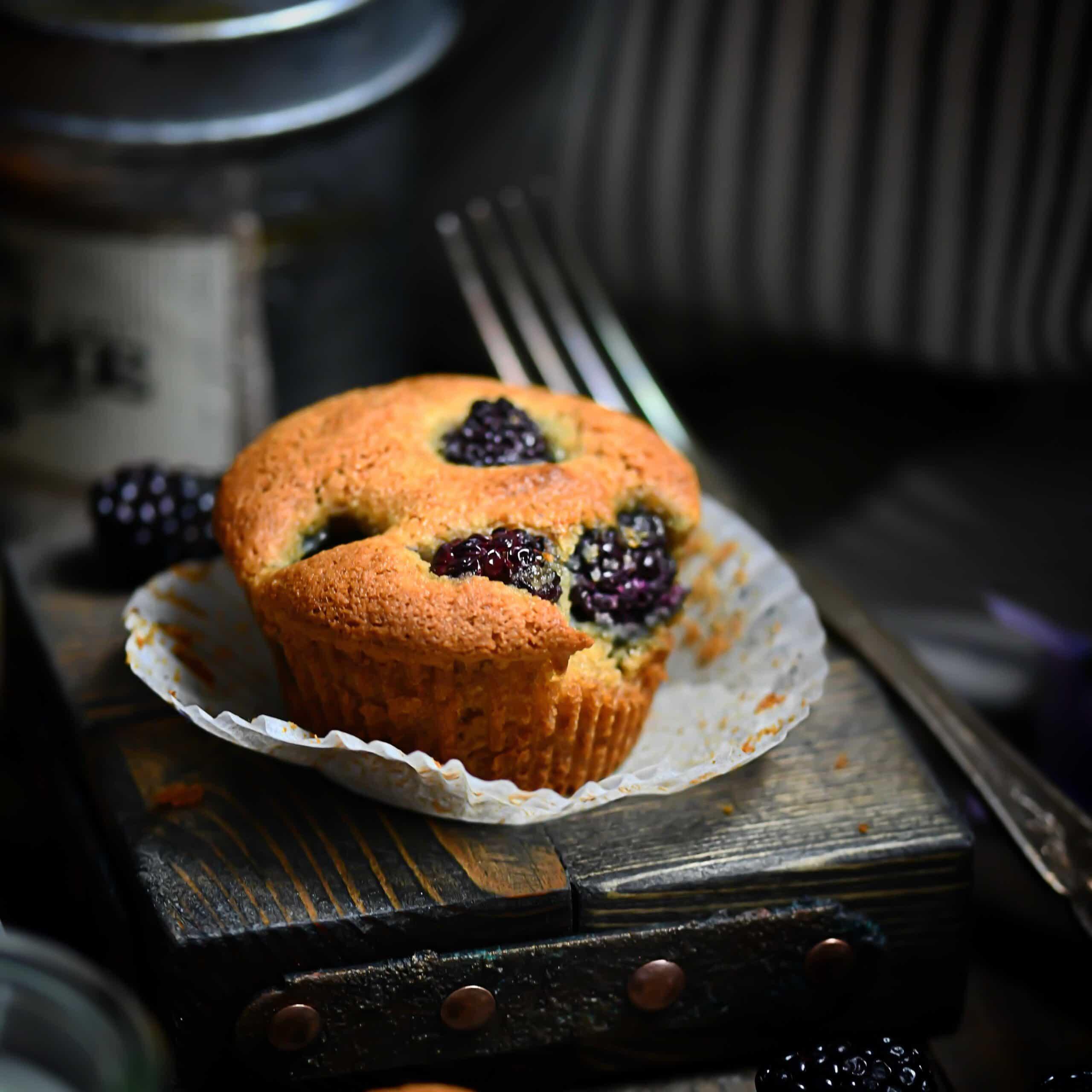 SCD + Paleo Blackberry Muffins In cupcake liner