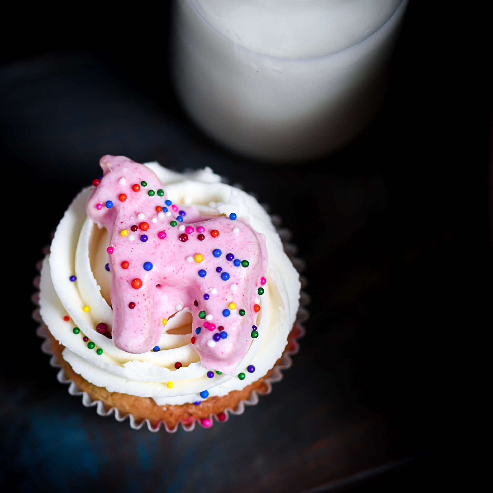 Animal Cookie On Frosted Cupcake